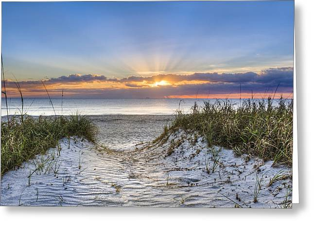 Atlantic Beaches Greeting Cards - Morning Blessing Greeting Card by Debra and Dave Vanderlaan