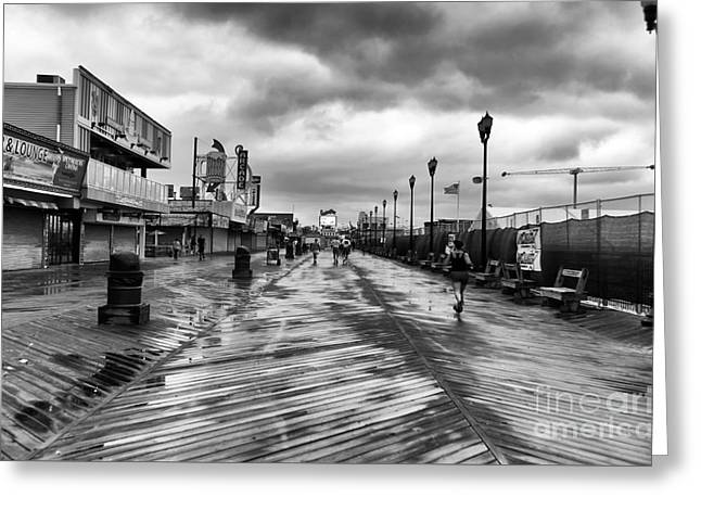 Seaside Heights Greeting Cards - Morning Boardwalk mono Greeting Card by John Rizzuto