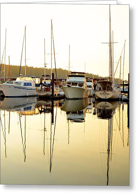 Docked Boat Greeting Cards - Morning Boats in Sunlight Greeting Card by Rachel Cash