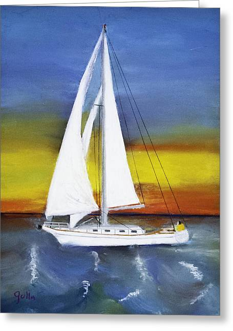Sailing Boat Pastels Greeting Cards - Morning Break Greeting Card by Lawrence Golla