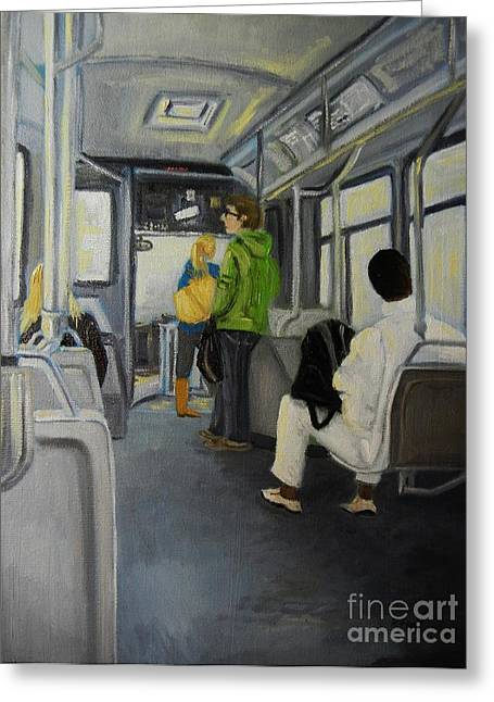 Morning Bus Greeting Card by Reb Frost