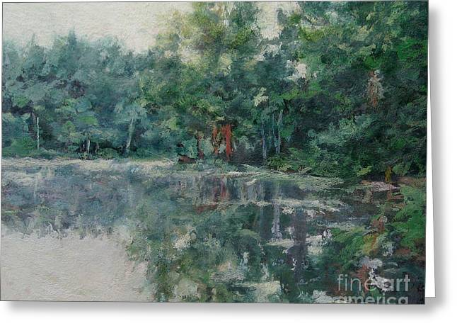 Gregory Arnett Paintings Greeting Cards - Morning Calm - Adirondacks Greeting Card by Gregory Arnett