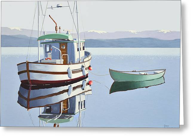 British Columbia Greeting Cards - Morning calm-fishing boat with skiff Greeting Card by Gary Giacomelli