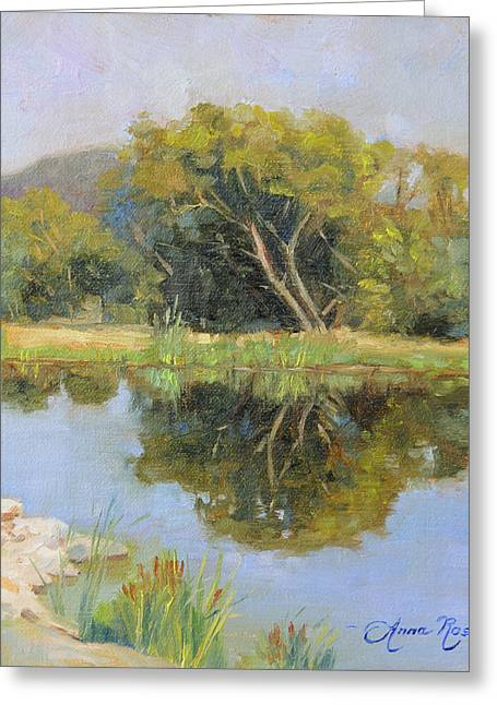 Calm Waters Paintings Greeting Cards - Morning Calm in Texas Summer Greeting Card by Anna Bain