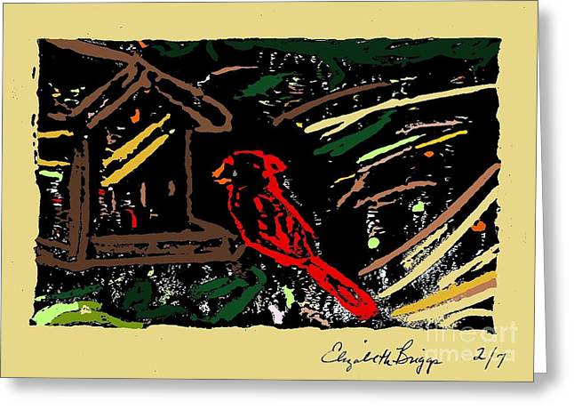 Lino Mixed Media Greeting Cards - Morning Cardinal Greeting Card by Elizabeth Briggs