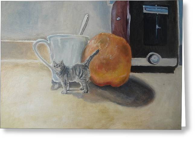 Toaster Paintings Greeting Cards - Morning Cat Greeting Card by Robert Sage