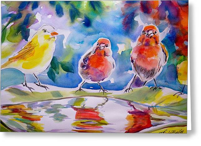 Therese Fowler-bailey Greeting Cards - Morning Chat Greeting Card by Therese Fowler-Bailey