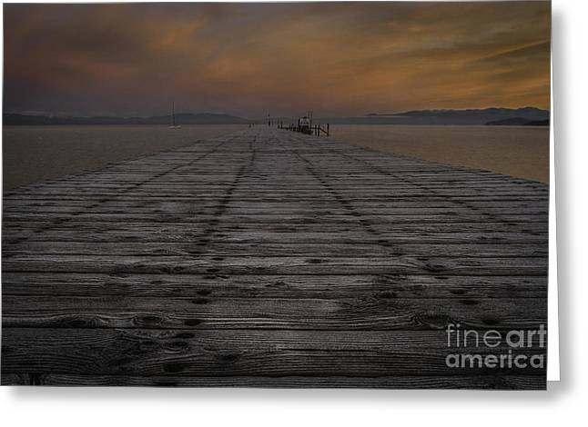 Sailboats Docked Greeting Cards - Morning Chill Greeting Card by Mitch Shindelbower