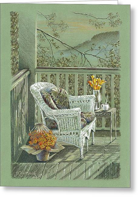 Eureka Paintings Greeting Cards - Morning Coffee at the Piedmont Inn Greeting Card by Jill Westbrook