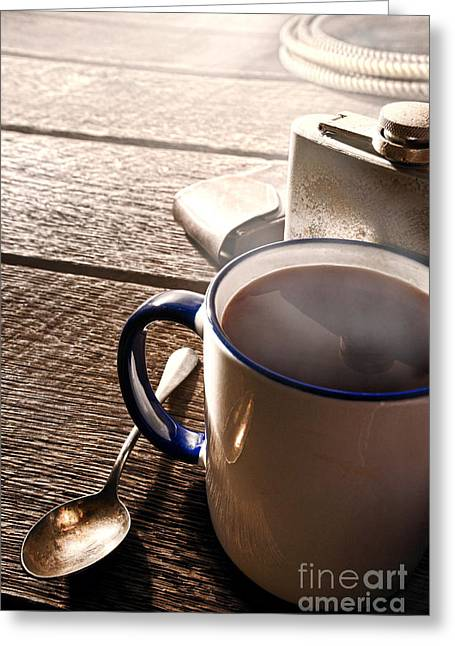 Coffee Table Greeting Cards - Morning Coffee at the Ranch  Greeting Card by Olivier Le Queinec