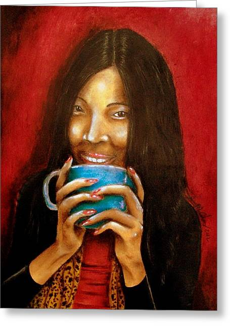 Coffee Drinking Pastels Greeting Cards - Morning coffee Greeting Card by Michael Alvarez