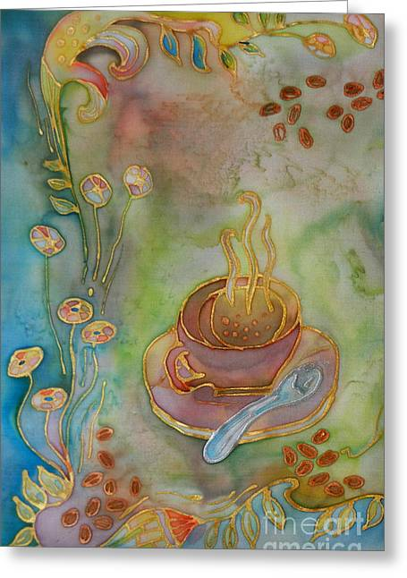 Cup Tapestries - Textiles Greeting Cards - Morning Coffee Greeting Card by Ruta Naujokiene