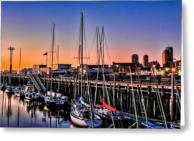 Blue Sailboats Greeting Cards - Morning Colors Greeting Card by Maria Coulson