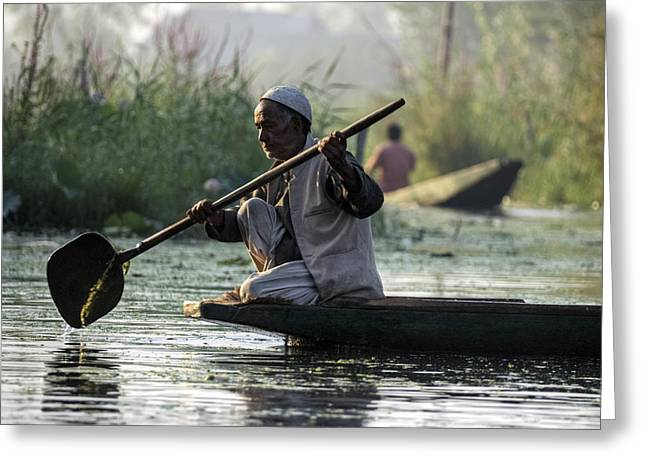 Dal Lake Greeting Cards - Morning Contemplations Greeting Card by Rohit Chawla