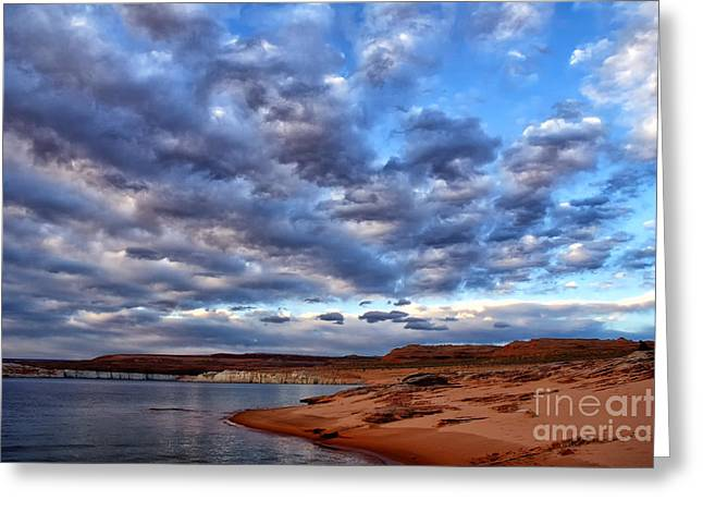 Desert Lake Greeting Cards - Morning Couds Greeting Card by Thomas R Fletcher