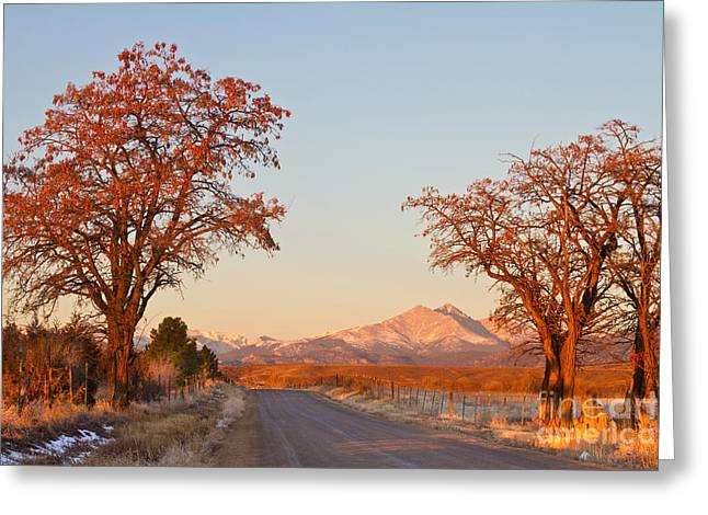 Long Street Greeting Cards - Morning Country Drive Longs Peak View Greeting Card by James BO  Insogna