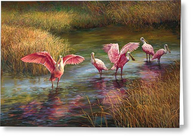 Flocks Of Birds Paintings Greeting Cards - Morning Dance Greeting Card by Laurie Hein