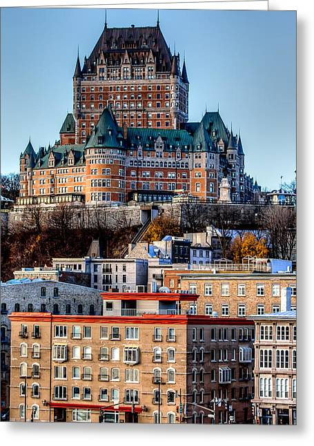 Chateau Greeting Cards - Morning dawns over the Chateau Frontenac Greeting Card by Bill Lindsay