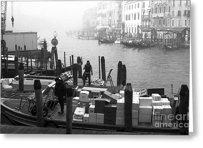 Artist Working Photo Photographs Greeting Cards - Morning Delivery in Venice Greeting Card by John Rizzuto