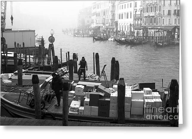 ist Working Photo Photographs Greeting Cards - Morning Delivery in Venice Greeting Card by John Rizzuto