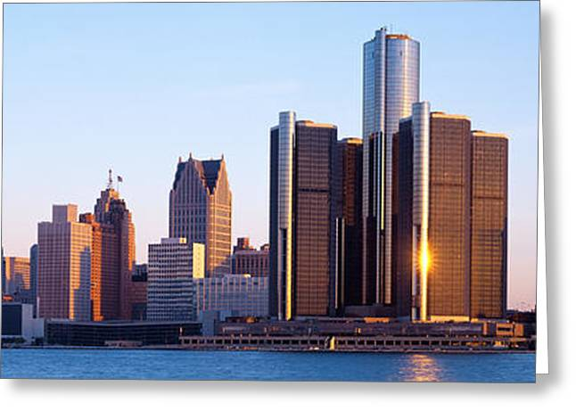 Center City Greeting Cards - Morning, Detroit, Michigan, Usa Greeting Card by Panoramic Images
