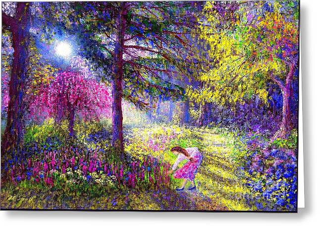 Woodland Scenes Paintings Greeting Cards - Morning Dew Greeting Card by Jane Small