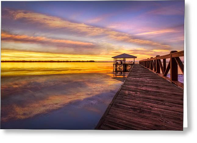 Placid Blue Greeting Cards - Morning Dock Greeting Card by Debra and Dave Vanderlaan