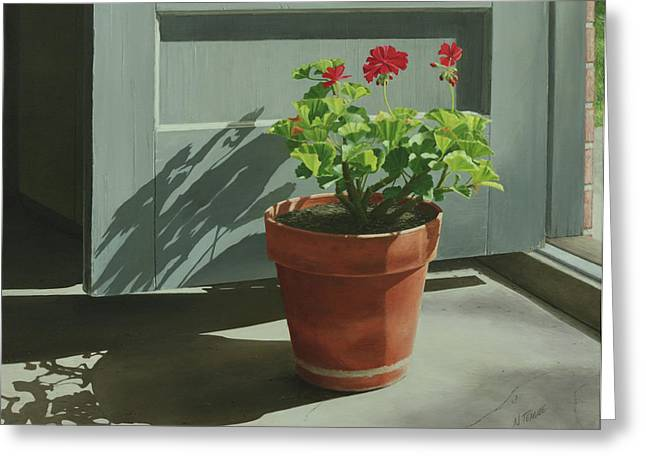 Geranium Greeting Cards - Morning Door Geranium Greeting Card by Nancy Teague
