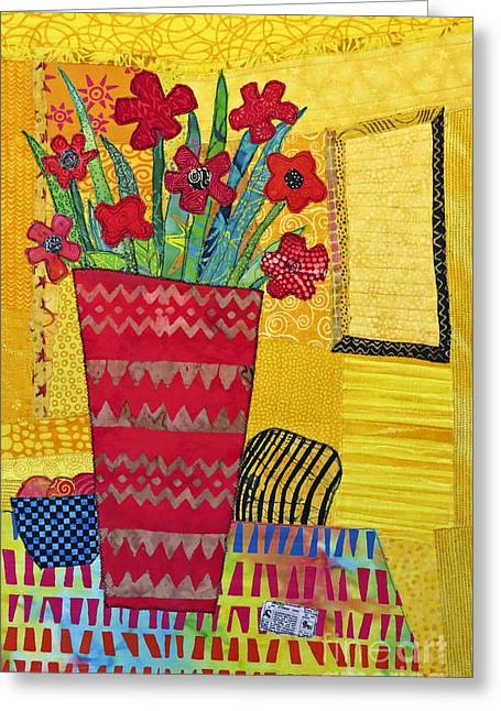 Flower Still Life Tapestries - Textiles Greeting Cards - Morning Dreams Greeting Card by Susan Rienzo