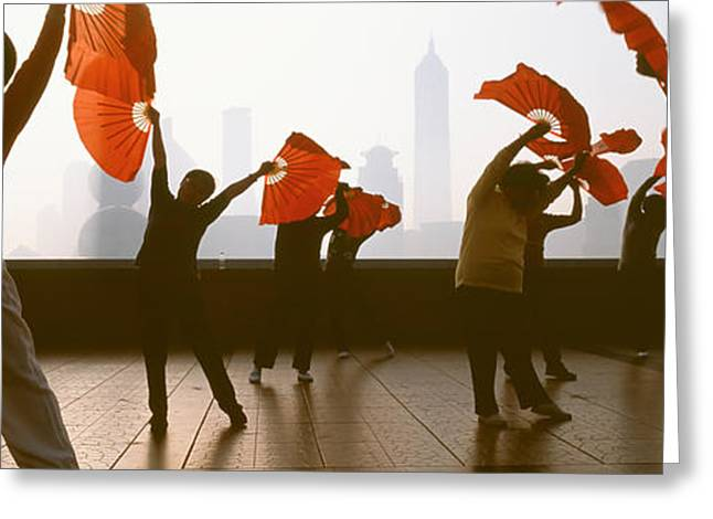 Bund Greeting Cards - Morning Exercise, The Bund, Shanghai Greeting Card by Panoramic Images