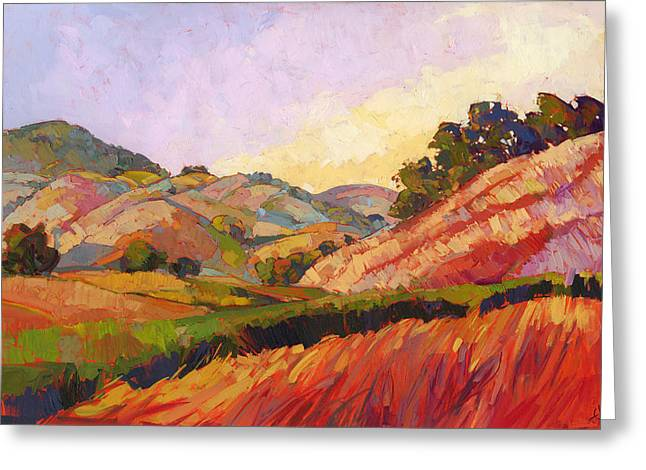 Original Artwork For Sale Greeting Cards - Morning Fields Greeting Card by Erin Hanson
