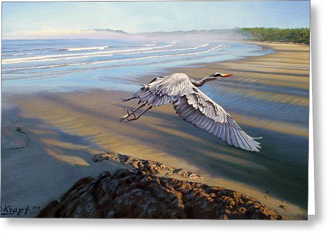 Pacific Greeting Cards - Morning Fight-Blue Heron Greeting Card by Paul Krapf