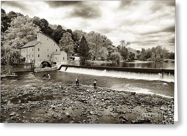 Raritan River Greeting Cards - Morning Fishing at the Old Red Mill Greeting Card by John Rizzuto