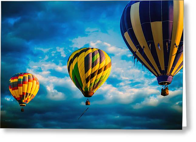 """great Falls"" Greeting Cards - Morning Flight Hot Air Balloons Greeting Card by Bob Orsillo"