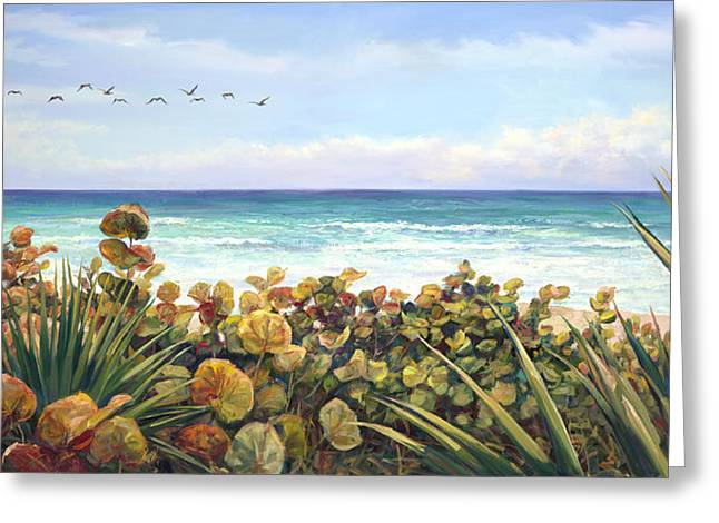 Sea Oats Greeting Cards - Morning Flyby Greeting Card by Laurie Hein