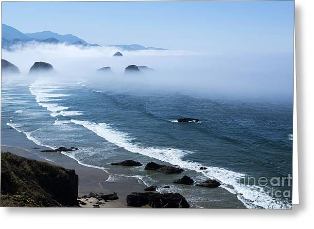 Morning Fog At Ecola Point Greeting Card by Yefim Bam