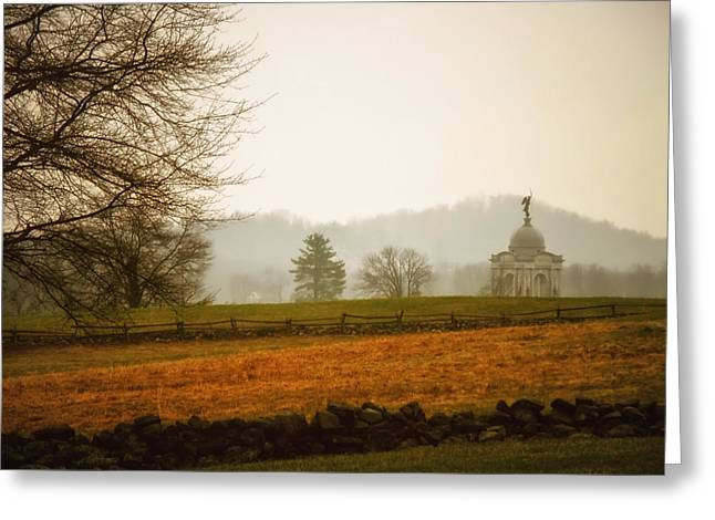 Civil War Site Greeting Cards - Morning Fog at Gettysburg Greeting Card by Mountain Dreams