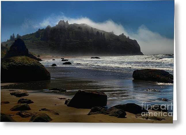 Foggy Beach Greeting Cards - Morning Fog Burn Greeting Card by Adam Jewell