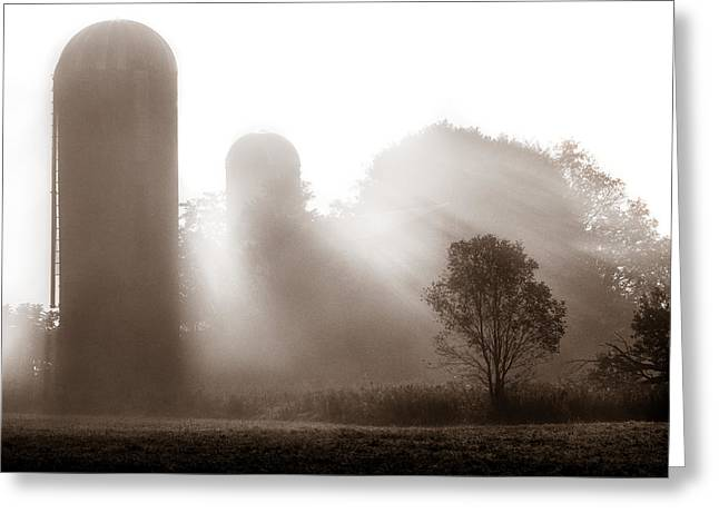 Old Western Photos Greeting Cards - Morning fog burning off the farm Greeting Card by Chris Bordeleau