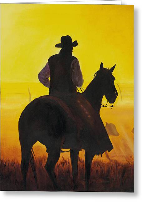 Cattle Ranch Greeting Cards - Morning Fog Greeting Card by Don Dane