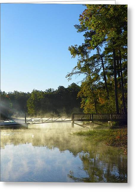 Stick Greeting Cards - Morning Fog On The Lake Greeting Card by Lisa Wooten