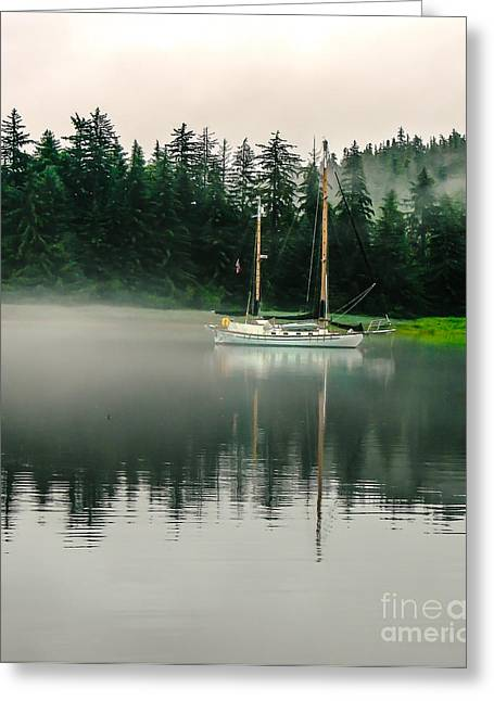 Haybales Greeting Cards - Morning Fog Greeting Card by Robert Bales