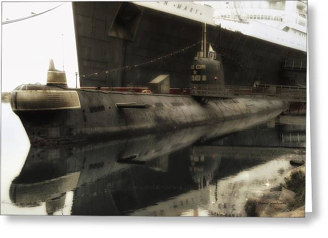Warrant Greeting Cards - Morning Fog Russian Sub Portview 01 Long Beach Ca Greeting Card by Thomas Woolworth