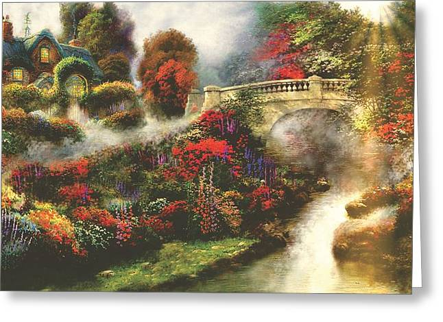 Kinkade Greeting Cards - Morning Fog Thomas Kinkade Look-a-like Greeting Card by Jessie J De La Portillo