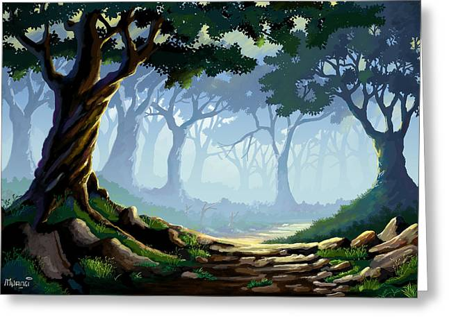 Morning Forest Mist Greeting Card by Anthony Mwangi