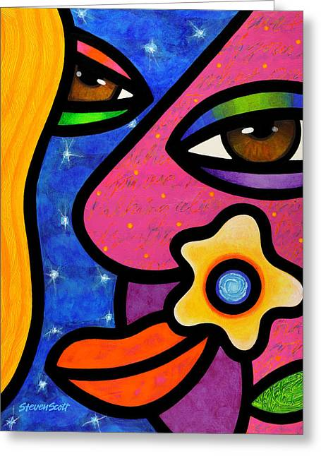 Abstract Faces Greeting Cards - Morning Gloria Greeting Card by Steven Scott