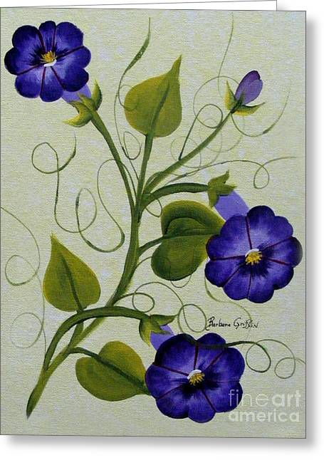 Green Barbara Griffin Art Greeting Cards - Morning Glories Greeting Card by Barbara Griffin