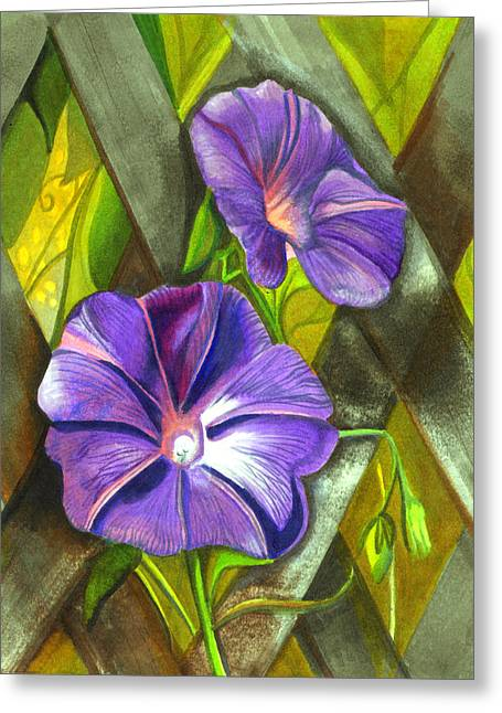 Trellis Greeting Cards - Morning Glories Greeting Card by Elaine Hodges