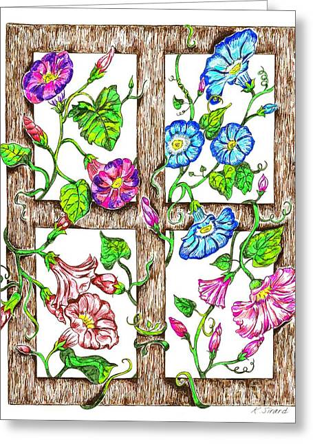 Trellis Drawings Greeting Cards - Morning Glories Greeting Card by Karen Sirard
