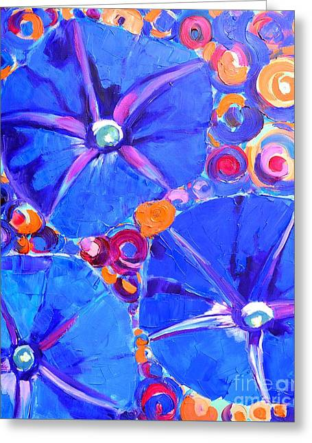Morning Glory Flowers Greeting Card by Ana Maria Edulescu